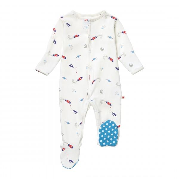 Piccalilly Pyjama mit Füßen - Raketen & Planeten