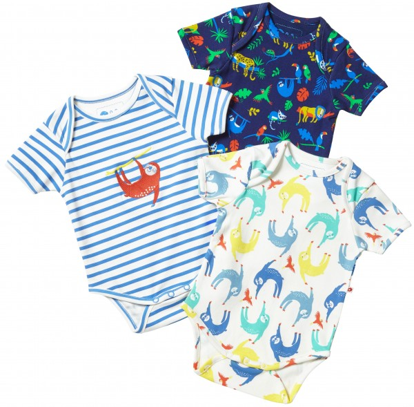 Piccalilly Body Kurzarm 3er Set - Faultiere & Safari